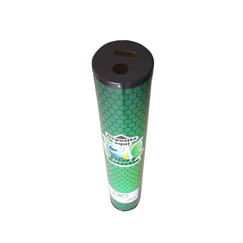 Contenedor en PVC para desechar pilas y baterías.